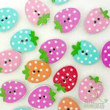 20pcs Mixed Color Strawberry Wood Button/Flatback Lot 20x15mm Craft Embellish