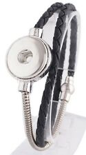 Silver Black Leather 18-20mm Snap Charm Bracelet For Ginger Snaps Jewelry