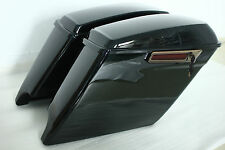 """Gloss black 4.5"""" ABS Extended stretch saddlebags Harley 2014-2017 both cutouts"""