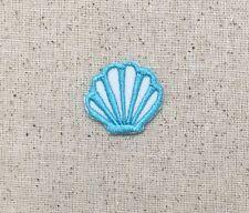 Iron On Embroidered Applique Patch - Seashell Sea Shell Beach - Aqua Blue SMALL
