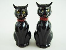 VINTAGE Black Ceramic Siamese Cat Kitten Salt and Pepper Shakers - Made in Japan