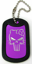 "Hello Kitty Purple Punisher Key Chain 4"" Chain Dog Tag Black Edge EDG-0360"