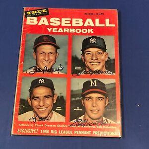Mickey Mantle Musial Mathews Berra HAND SIGNED 1956 True Baseball Yearbook