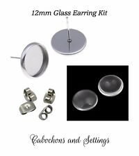 10 x 304 stainless steel earrings 12mm DIY kit bezels nuts glass dome findings