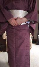 Original Japanese  Kimono Robe - Woman's - Purple linen with Obi from Kyoto