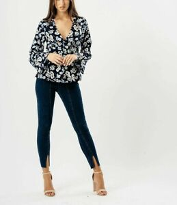 Womens Ladies Navy Floral Flute Sleeve Wrap Top size 8 10 12 14