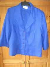 COUNTRY CASUALS LADIES ROYAL BLUE 100% LINEN TAILORED JACKET SIZE 18 WASHABLE