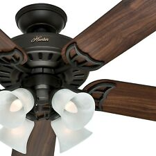 "Hunter 52"" New Bronze Ceiling Fan - Four-Light Fitter w/ Swirled Marble Glass"