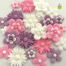 LOVE LILAC PINK & WHITE edible sugar flowers christening cup cake decorations