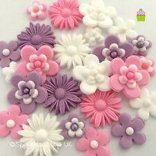 Love Lila Rosa y Blanco Comestibles Azúcar Flores Bautizo Cup Cake Decoraciones