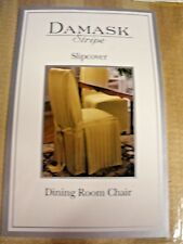 NEW Damask Stripe Slipcover Dining Room Chair gold camel color