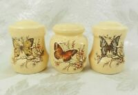 3 Treasure Craft Pottery Stoneware Salt Pepper Yellow Speckled  Butterflies