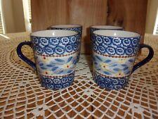 Temp-tations by Tara Old World Blue Ceramic Mugs Presentable Ovenware Set of 4