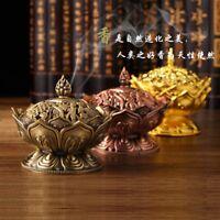 Golden/ Red Copper Collectable Tibetan Lotus Figure Alloy Incense Burner Censer