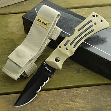 Ka-Bar MULE AUS 8A Part Serrated Coyote Brown Zytel Handle Lockback Knife 3053