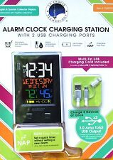La Crosse Technology Alarm Clock Charging Station with 2 USB Charging Ports NEW