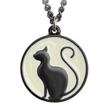 Meow at the Moon Black Cat Silhouette Circle Pendant Kitty Alchemy Gothic P824