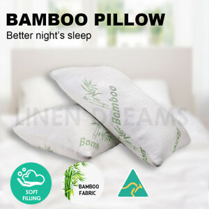 2x Aus Made Bamboo Cover Microfibre Polyester Fill Family Pillow  40x70cm