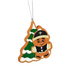 New Orleans Saints Gingerbread Man w/ Tree Christmas Tree Ornament NEW MT14