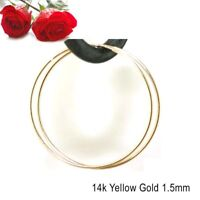 """New 1.5"""" 14K Yellow Solid Gold Endless Hoop Earrings 40mm X 1.5mm 1.4g"""