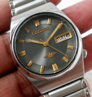 CITIZEN AUTOMATIC DAY DATE GREY DIAL STEEL CASUAL MENS WATCH SMALL SIZE 32MM