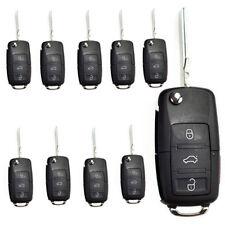 10 x Uncut Flip Remote Key Shell fit for VW Golf Passat Jetta Beetle 3Bt 1 panic