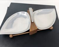Mid Century Modern Danish Teak Wood Serving Tray 2 Silver Metal Bowls Vtg 50's