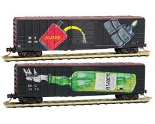 "Micro-Trains MTL 02544870 ""AWARE"" 50' Rib Sid Weathered/Graffiti 2 pack Nov 2015"