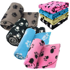 More details for  small soft fleece paw print pet car blanket blankets dog puppy cat bed job lot