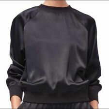 August Silk Satin Black Sweatshirt M French Terry