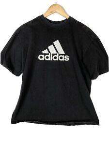 Adidas Men's Black Shirt Size Large Big Logo Tee T-shirt Running Gym Casual
