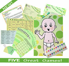 FIVE GAME BABY SHOWER MULTI-PACK (Predictions, Bingo...) GREEN UNISEX RRP £18