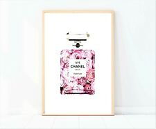 coco chanel pink roses perfume bottle with flowers print/poster