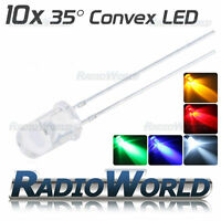 10x 3mm 5mm Ultra Bright LED Diode 2.4v Red Green Blue White Yellow Multi Pack