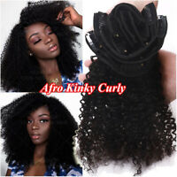 Brazilian Clip In Afro Kinky Curly Remy Human Hair Extensions THICK Full Head US
