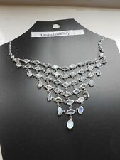 Sterling Silver Sri Lankan Blue Moonstone Gems Large Net Necklace (21N11)