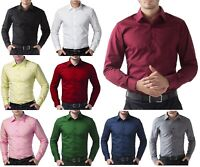 Luxury Shirts Mens Cotton shirts Casual Formal Slim Fit Shirt Top Long Sleeve