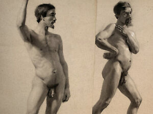 Group of 4 19th Century Academic Male Nude Academie Drawings 1851 Pierre Champod