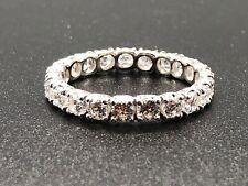 Stunning! Women's 14K White Gold Cubic Zirconia Eternity Band Ring Size 8