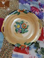 Vintage Peach light orange Lusterware luster Bowl Made in Japan green flower mk