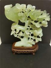 vintage Chinese carved Jade Birds in Cherry Tree Sculpture Carving on wood stand