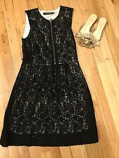 ANDREW MARC MARC NY BLACK LACE Overlay Front Exposed Zip Dress SZ6 POCKETS Work