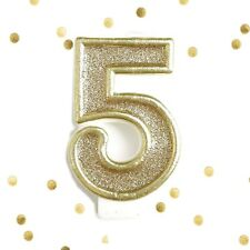 Light Gold Glitter 5th Birthday Candle Number 5 Gold & White Cake Topper Five