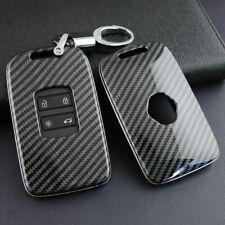 Carbon Fiber Key Cover Fob Case W/ KeyChain For Renault Kadjar Megane Koleos New