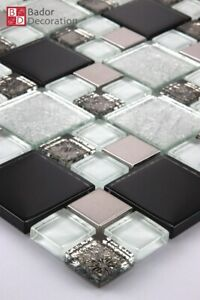 Glasmosaik Mosaik Fliesen Edelstahl Glas Mosaik Schwarz Silber Weiß 30x30 cm 8mm