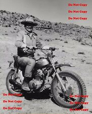 John Wayne 8X10 Photo The Duke Honda 350SL Motorcycle Cowboy Man Cave Sign B&W