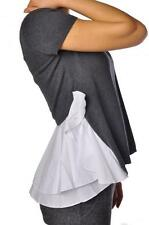 NS TWIN SET SIMONA BARBIERI GREY WHITE RUFFLE TOP T3S5VA M,L £135
