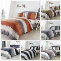 Fusion Betley Stripe Duvet Cover Bedding Set Blue,Spice,Grey,Ochre,B&W Or Blush