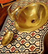 Brass Moroccan hand hammered plain oval sink wash basin