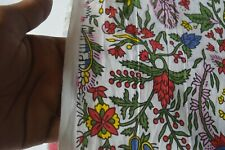 India Handmade Natural Hand Block Print By The 5 Yard Sanganeri Cotton Fabric^